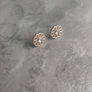 5 for $8 Rose Gold Flower Diamond Cut out Earrings